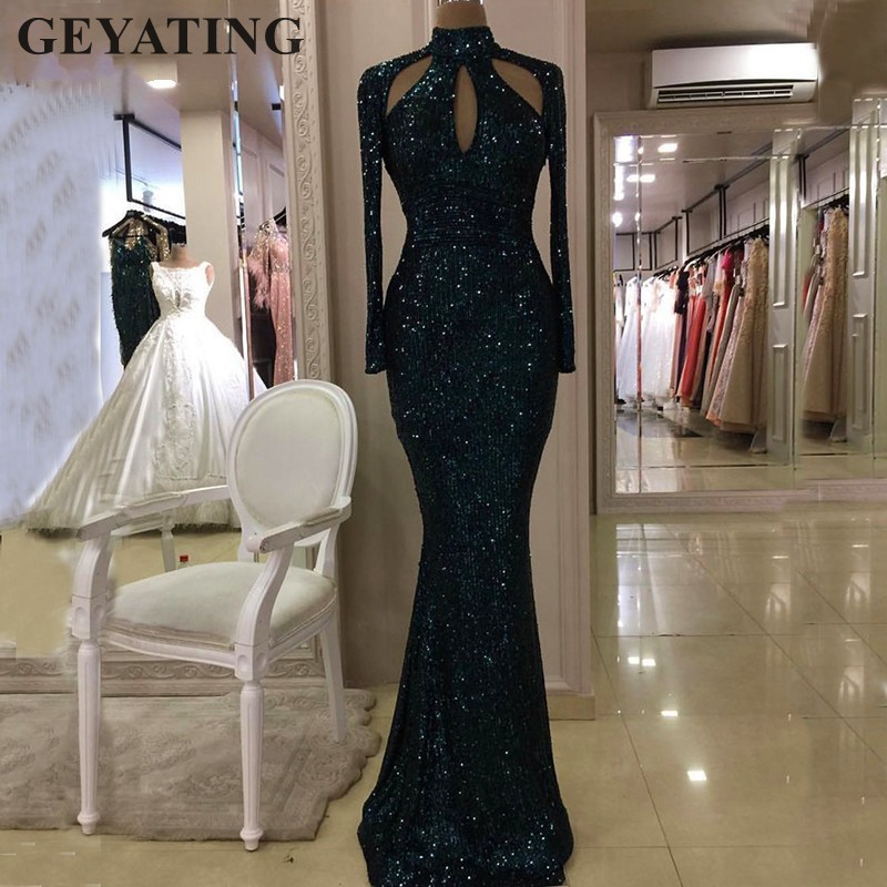Dark Green Sequined High Neck Mermaid Evening Dresses 2019 Long Sleeves Hollow Cut Out Long Gold Prom Formal Dress Party Gowns