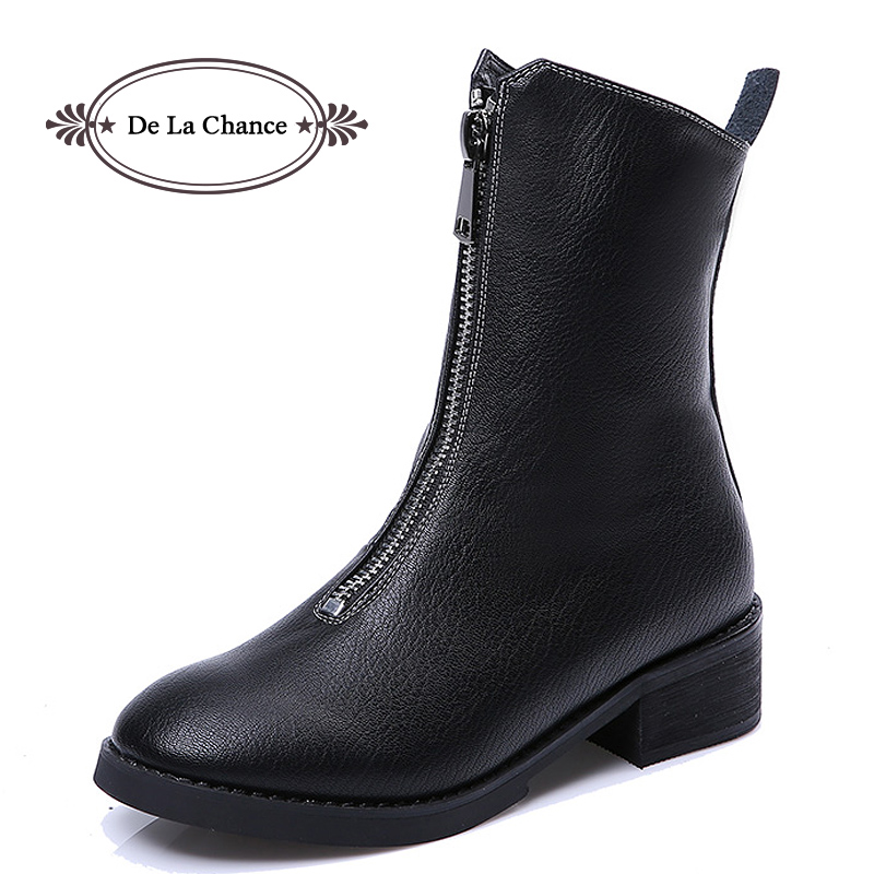 De La Chance Black Genuine Leather Women Ankle Boots Spring Autumn Motorcycle Boots Winter Shoes Woman Female Casual Booties de la chance winter women boots high quality female genuine leather boots work
