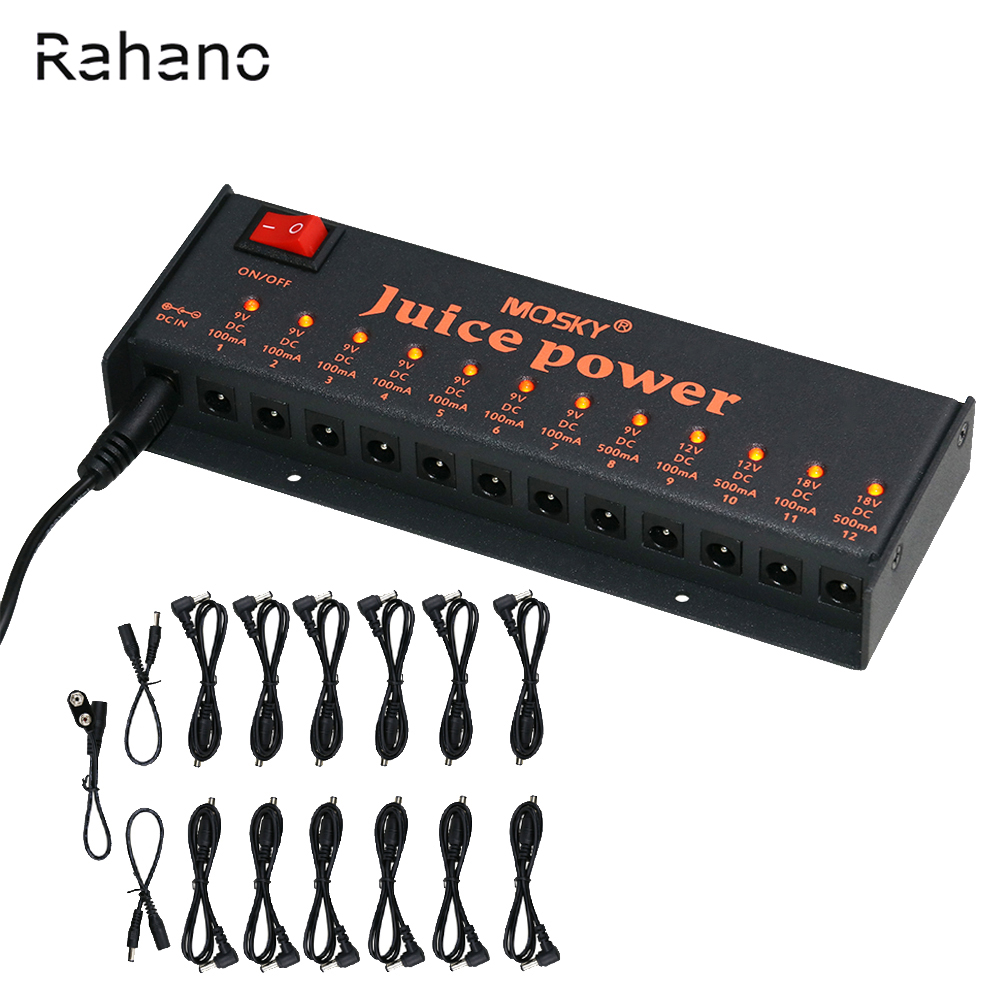 rahano juice power guitar effect power supply for 9v 12v 18v guitar effects 12 isolated dc. Black Bedroom Furniture Sets. Home Design Ideas