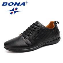 BONA yeni klasik tarzı erkekler rahat ayakkabılar Lace Up nefes erkek ayakkabısı hafif yumuşak erkek düz ayakkabı rahat, hızlı ücretsiz kargo