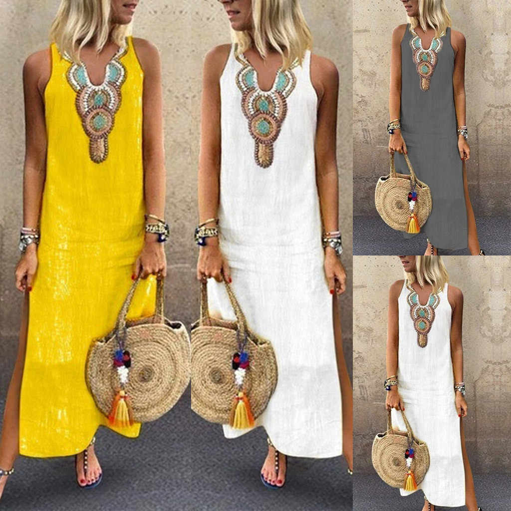 2019 New Women's Printed Sleeveless V-neck Maxi Dress Summer Split Hem Kaftan Long Dress S-2XL Robe Femme Vestidos Plus Size