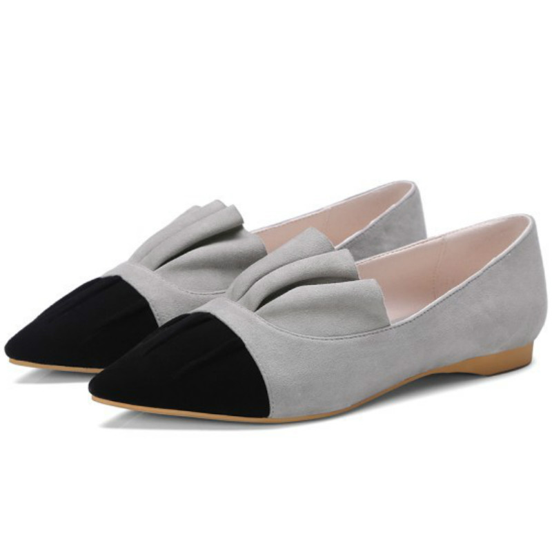 ФОТО top brand women natural sheepskin leather loafers 2017 gray black mixed color pointed toes pleated fashion ladies flat shoes