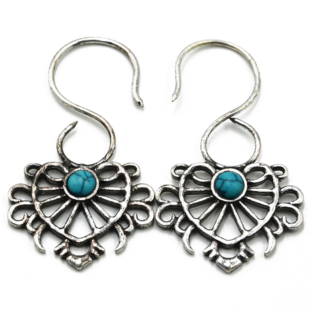 PAIR Indian Tribal Ethnic Earrings Brass Vintage Synthetic Burst Design Earring Ear Weights Studs Piercing Body Jewelry