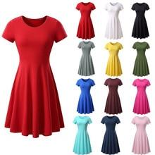 цена на Sleeve Tee Shift Short Dress 2019  Round Neck Tunic Basic Dress Female Summer Short Sleeve Dress