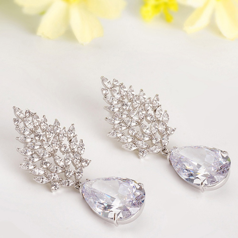 Aliexpress buy luoteemi wholesale luxury large earrings female aliexpress buy luoteemi wholesale luxury large earrings female wedding jewelry bridal big heavy cz chandelier earrings for women from reliable large arubaitofo Choice Image