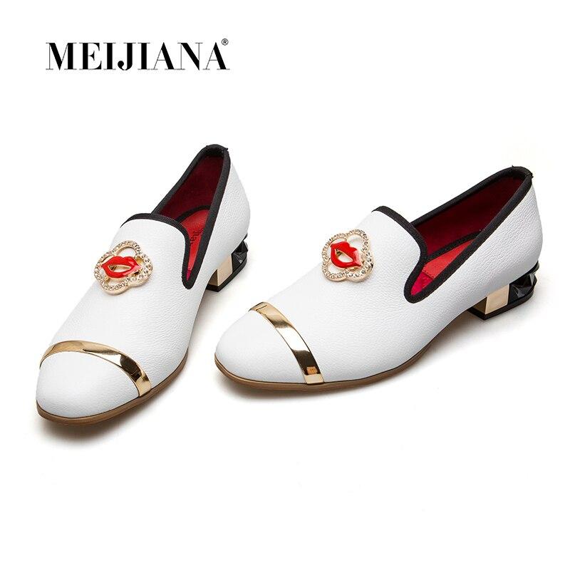 MEIJIANA Women Brand Pumps Leather Round Toe Low Heels Pumps Luxury Square Women Wedding Shoes ladylike women s pumps with round toe and bowknot design