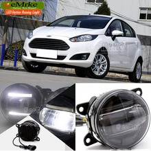 eeMrke For Ford Fiesta 2 in 1 LED DRL Fog Lights Lamp With Q5 Lens Daytime Running Lights