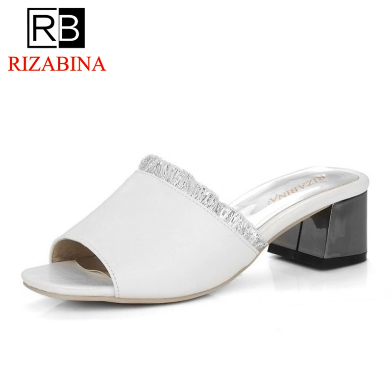 RIZABINA Big Size 31-45 4 Colors Fashion Women Thick Heel Peep Toe Sandals Women Slip On Soft Med Heel Lace Ruffles Slippers