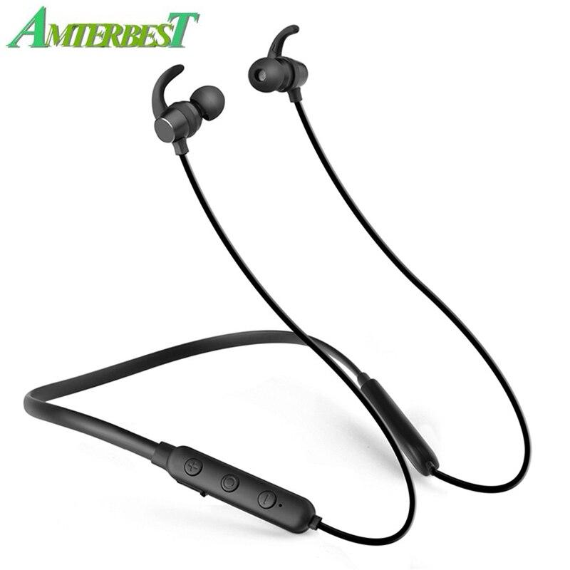 AMTERBEST X7 Bluetooth Earphones Magnetic Neckband Headset Waterproof Wireless Sport Stereo
