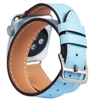 V MORO Genuine Leather Double Tour Watch Band For Apple Watch Band Double Loop Strap Replacement