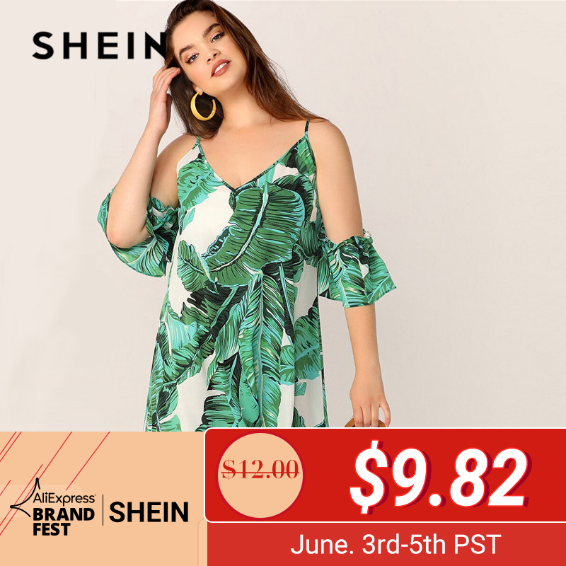 Шеин Плюс V образным вырезом тропический принт поясом платье для женщин Лето 2019 туника Boho прямо с поясом размеры короткий рукав