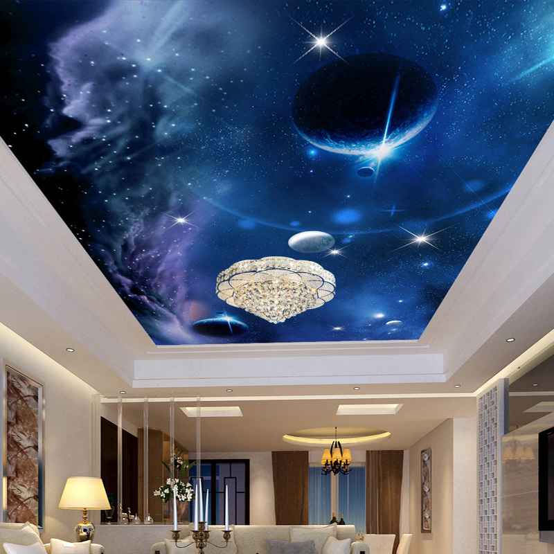 Custom Any Size 3D Wall Murals Wallpaper Universe Starry Sky Design Wall Painting Living Room Ceiling Mural Photo Wall Paper 3D custom ceiling wallpaper blue sky and white clouds murals for the living room apartment ceiling background wall vinyl wallpaper