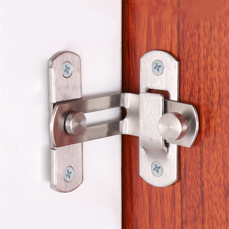 90 Degree Stainless Steel Door Latch Right Angle Sliding Door Lock Latch Screw Locker Hardware Accessories
