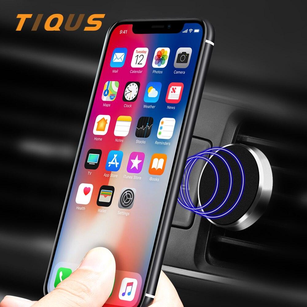 Tiqus Универсальный автомобильный держатель телефона для iPhone 7 8 6 Plus Samsung Магнитная <font><b>Air</b></font> <font><b>Vent</b></font> Mount Стенд 360 Вращение мобильного держатель телефона
