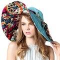 2017 Дизайн Одежды Цветочные Складная Широкими Полями Вс Шляпа Летние Шляпы Для Женщины УФ-Защита Пляж Крышка