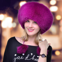 Women's fur hat for winter genuine leather fur tapper hat with fur pom pom ear protect bomber hats Russian Ushanka outdoor caps