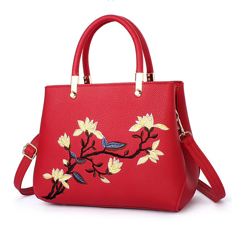 Free Shipping 2017 New Fashion Red Blue Pink with Embroidery Flowers PU Ladies Handbag Women Messange Bags Crossbody Bag MY051
