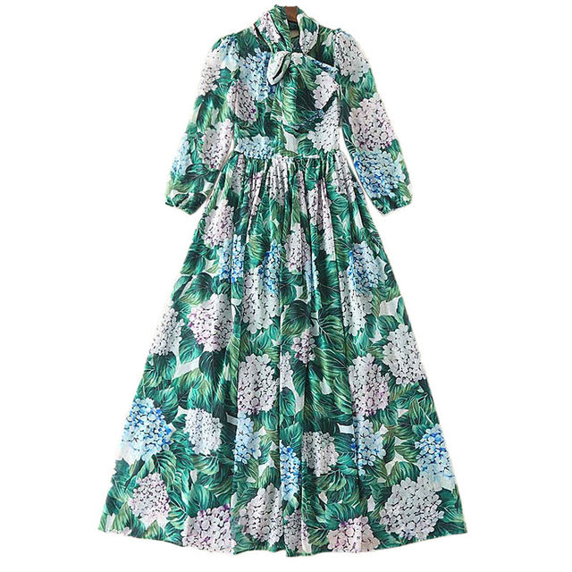 High-quality runway 2017 summer new women's long-sleeved large size Bohemian seaside holiday beach printing chiffon dress