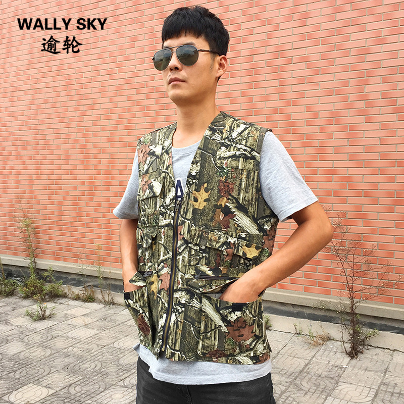 Men Bionic Military Tactical Camouflage Vest Outdoor Cotton Waistcoat Hunting Fishing Vest Shooting Camo Sleeveless Camo Jacket camo suit outdoor game military hunting and shooting accessories tactical camouflage clothing blind for airsoft wildlife photog