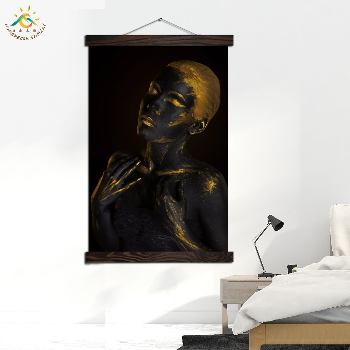 Black Girl Gold Hair Modern Canvas Art Prints Poster Wall Painting Scroll Painting Artwork Wall Art Pictures Home Decoration in Painting Calligraphy from Home Garden