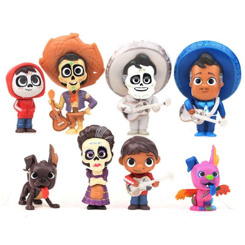 Disney Toys 8pcs/Set 5-9Cm Movie Coco Pixar Miguel Riveras Miguel/Ernesto De La Cruz Hector Action Figure Toys Kid Birthday Gift