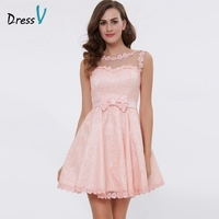 Dressv Pink A Line Lace Up Cocktail Dress Boat Neck Above Knee Lace Homecoming Dress Appliques