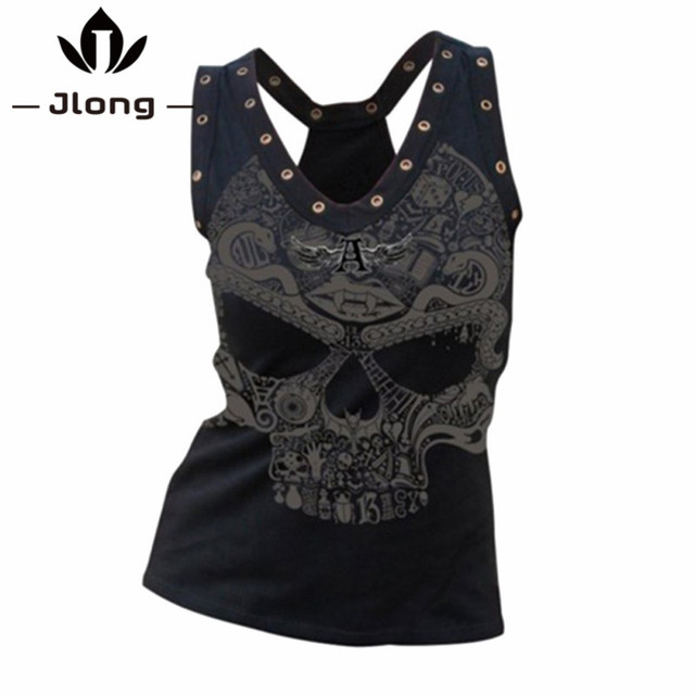 Women Hip Hop Summer Vest Fashion Tank Tops Female Plus Size V-Neck Tee Shirt Woman Skull Head 3D Printed t Shirts blusa femme