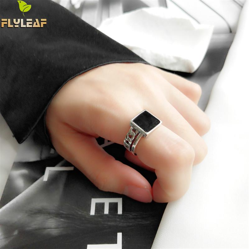 Flyleaf 925 Sterling Silver Rings For Women Simple Square Square Black Drop Glaze Chain Fashion Fine Jewelry Open Ring Femme in Rings from Jewelry Accessories