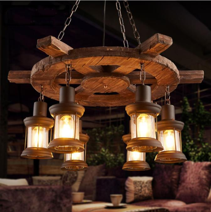 Retro Bar Industrial Wind Chandelier Loft Solid Wood Personality Restaurant Bar Industrial Coffee Shop Industrial Chandelier Pendant Lights     - title=