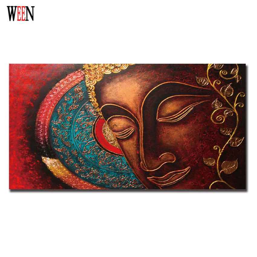 Abstract buddha canvas art joss painting meditation poster - Decoracion cuadros vintage ...
