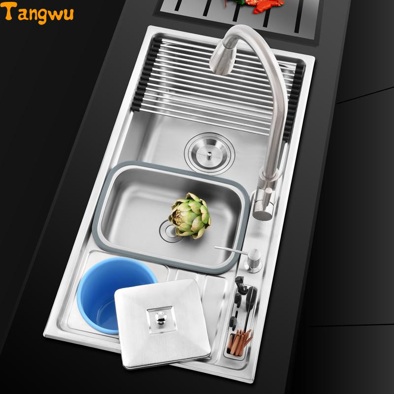Kitchen Sink Drawing: Free Shipping Multi Functional A Single Sink 304 Stainless