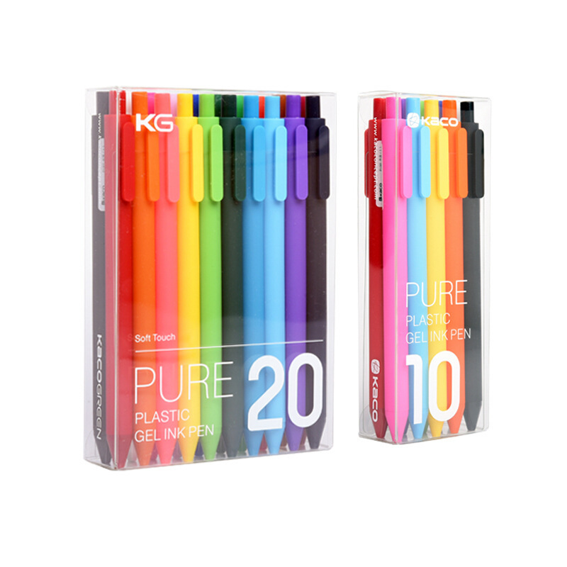 10/20 Pcs Boxed Genuine Great Quality Kaco Concise Candy Color Gel Pen 0.5mm Multicolor Exquisite Gift Stationery