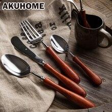 Mango de madera de Color de Madera De estilo occidental platos cubiertos de acero inoxidable cuchillo y tenedor cuchara Occidental filete cuchillo