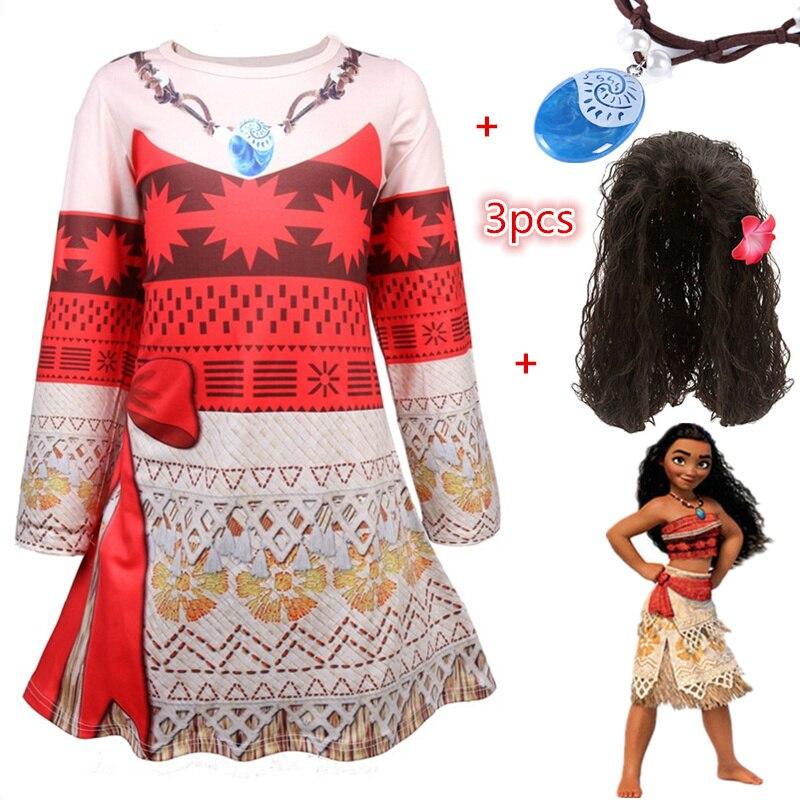 44aaca500 Moana vestido collar estampado ropa para bebés niñas manga larga niños  Vaiana princesa Cosplay disfraz niño niños verano tutú