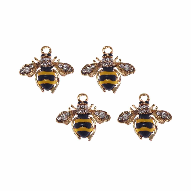 5 x Tibetan Gold Tone Enamel /& Rhinestone HONEYBEE BEE BEES 18mm Charms Pendants