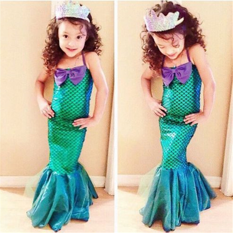 2018 New Hot Toddler Kids Child Bow Set Girls Mermaid Princess Dresses Party Halloween Polyester Cosplay Costume One Pieces