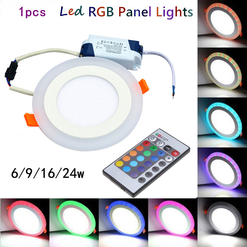Embedded Round /square Colorful LED RGB Panel Downlight 6W 9W 16W 24W RGB Panel Light AC85-265V LED Panel Global Lighting