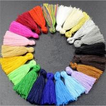 50pcs/lot 30mm Mixed Cotton Silk Tassels Earrings Charm Pendant Satin Tassels for DIY Jewelry Making Findings Materials Z237