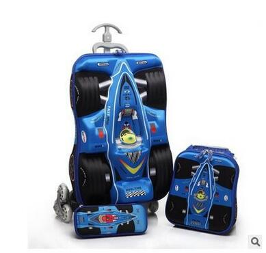 Boys Rolling Bag 3D stereo Boys Car trolley case Cartoon Children Trolley Bags with wheels Travel suitcase Lunch bag Kids