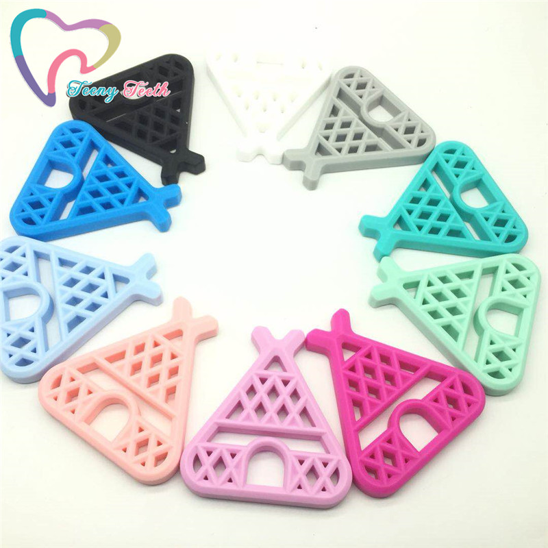 50 PCS 10 Colors New Baby Woodland Teepee Shape Teether Infants BPA Free Silicone DIY Teething Necklace Chewable Toys Pendants