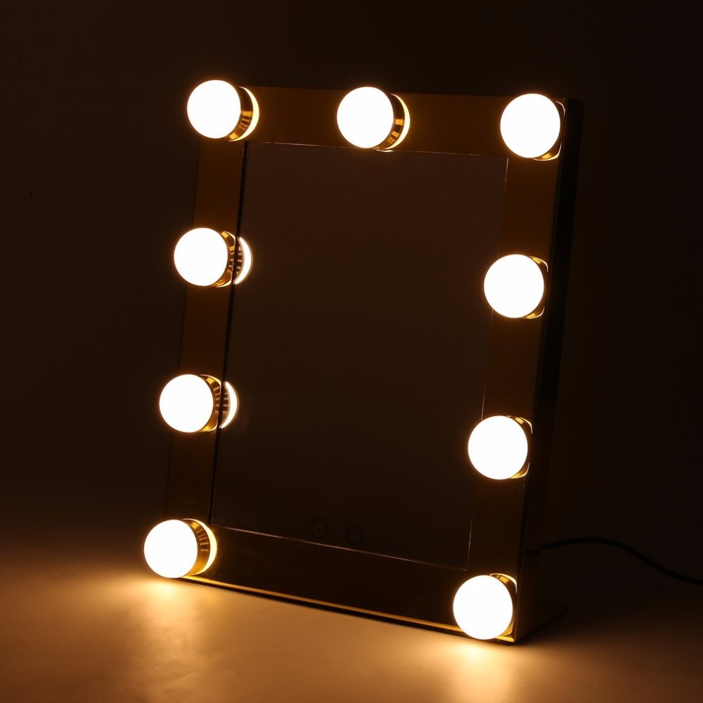 Vanity Tabletops Lighted Makeup Mirror With 9 LED Bulb Lights Dimmer Cosmetic vanity magnifying led mirror table Touch Screen high quality 9 brass 1x3x magnifying bathroom wall mounted round 25 led cosmetic makeup mirror with lighting mirror 2068