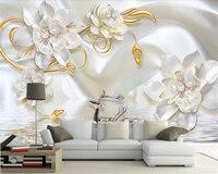 Beibehang Custom Super Silky Papel De Parede Wallpaper Luxury Fashion Silk Relief Pearl Jewelry Flower Simple