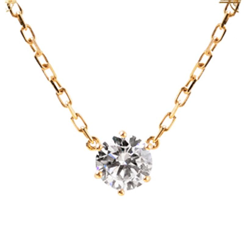 18k Rose Gold 0.2ct Diamond Pendant Simple 6 Prong Solitaire Natural Diamond Pendant Necklace Classic Fine Jewelry Pendant