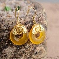 Gelb chalcedon ohrringe Thai gold sterling silber ohrringe großhandel S925 neue exquisite geschenk