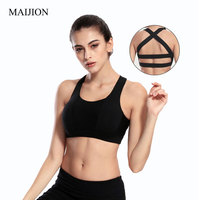 MAIJION Sexy Women Push Up Padded Bra Crop Tops Fitness Workout Stretch Vest Female Tanks Cross