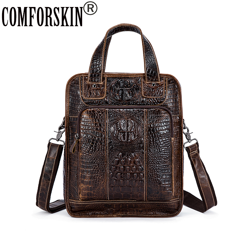 COMFORSKIN New Arrivals Crocodile Pattern Men Leather Handbags 2018 Bolsa Masculina Hot Vintage Style Cowhide Men's Totes Sales цена