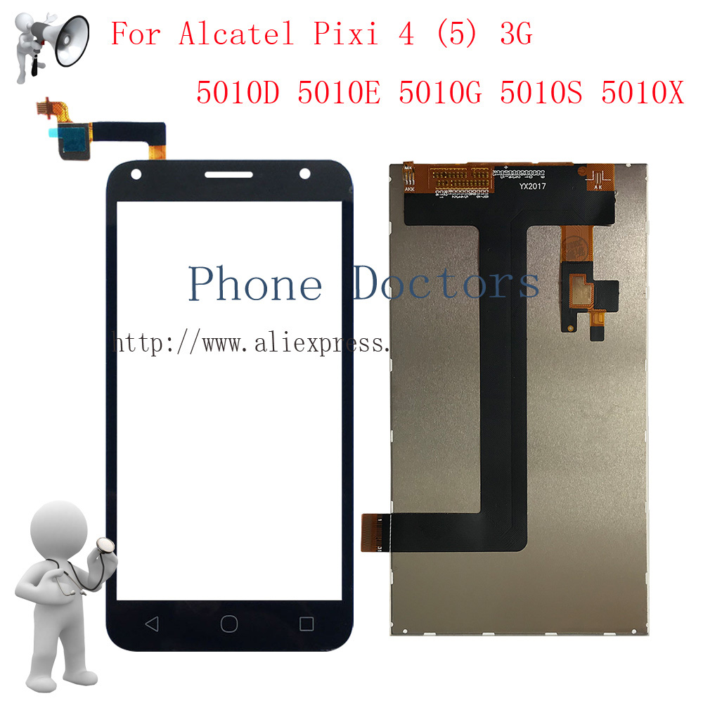 5.0 LCD display + Touch screen digitizer assembly For Alcatel Pixi 4 (5) 3G 5010 5010D 5010E 5010G 5010S 5010X Black Replace