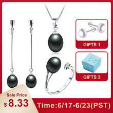 2019 Hot selling Black Pearl Jewelry sets Fashion 925 sterling silver jewelry for women wedding/party jewelry Lowest Price(China)