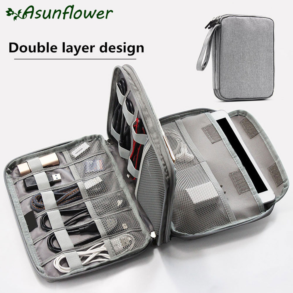 Asunflower Portable Electronic Accessories Organizer Travel Bag Zipper USB Cable Hard Drive Case For 13