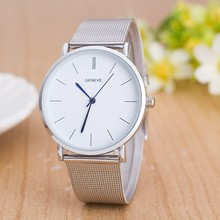 Luxury Brand Geneva Women Watch Fashion Stainless Steel mesh belt Silver Watch Men Casual Quartz Watches Ultrathin WristWatches цена и фото